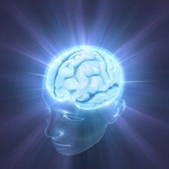 Image: head with brain radiating light.